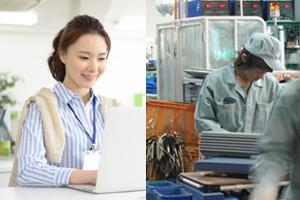 パソコン女性と作業員